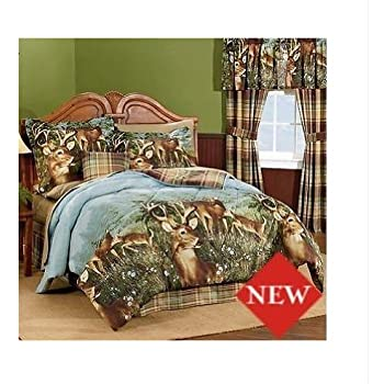 Amazon Com Deer Hunting Cabin Themed Queen Comforter Set