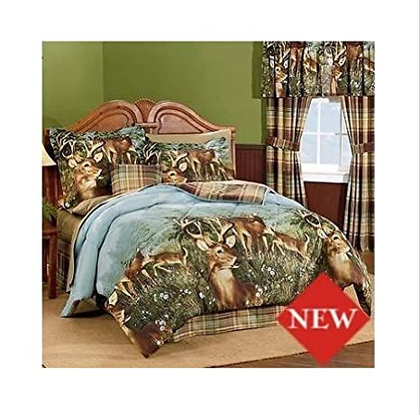 Cabin Hunting Realtree AP Black Camo 7 Pc QUEEN Comforter Set