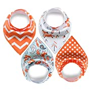 Bandana Bibs For Boys | 4 Pack | Absorbent Organic Cotton | Fox | Baby Bandana Drool Bibs Boy Pack by WZ Products