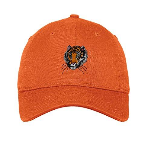 (Bengal Tiger Head Twill Cotton 6 Panel Low Profile Hat Orange)