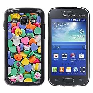 Valentines caramelo azul de los corazones del amor - Metal de aluminio y de plástico duro Caja del teléfono - Negro - Samsung Galaxy Ace 3