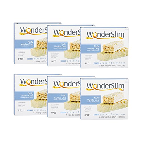WonderSlim Low-Carb 15g Protein Diet Bar – Fluffy Vanilla Crisp – High Fiber Weight Loss Snack Bar – Gluten Free 6 Boxes Value Pack (Save 15%) For Sale