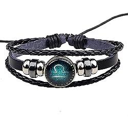 Winter's Secret Twelve Constellations Libra Black Leather Hand Braided Alloy Beaded Adjustable Bracelet
