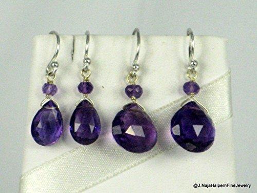 AMETHYST EARRINGS Sterling Silver 925 Large Amethyst Briolette Dangle Earrings, 1.5 ()