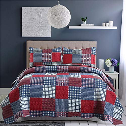 - Jessy Home Quilts Queen Size,Plaid Patchwork Coverlet Set,Reversible Bedspread Set,3 Pieces 1 Quilts 2 Pillow Shams