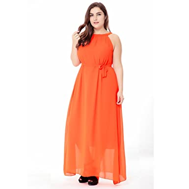 bfe6348d77b Image Unavailable. Image not available for. Color  EK Women  Long Maxi  Party Beach Evening Dress Sleeveless Plus Size (XXXL