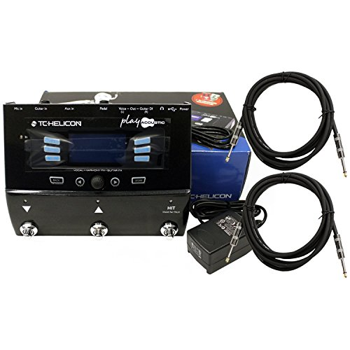 TC Helicon Play Acoustic Guitar FX Vocal Effects Pedal w/ Power Supply and 2 Cables Bundle by TC Electronic