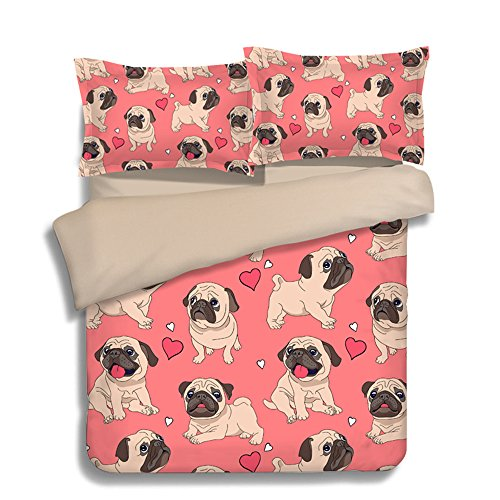 Fantastic Funny Cartoon Pugs Cotton Microfiber 3pc 104''x90'' Bedding Quilt Duvet Cover Sets 2 Pillow Cases King Size by DIY Duvetcover