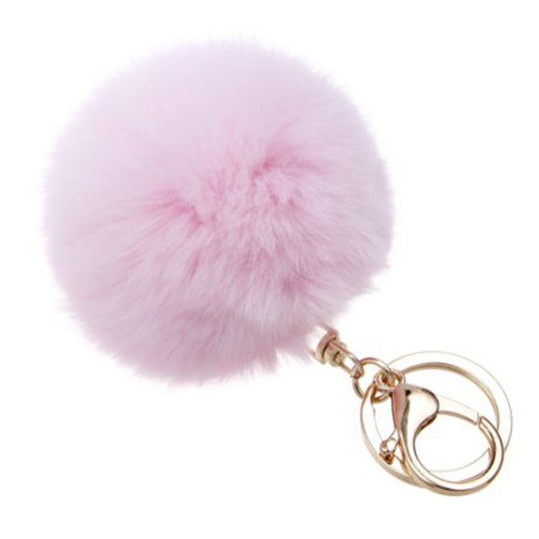 SUPPION Furry Metal Pompom Ball Keychain Bag Plush Car Key Ring Pendant (Pink)