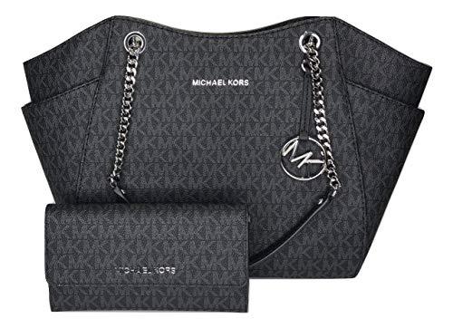 MICHAEL Michael Kors Jet Set Travel Large Chain Shoulder Tote bundled with Michael Kors Jet Set Travel Trifold Wallet (Signature MK Black) (Michael Kors Jet Set Chain Shoulder Tote Black)