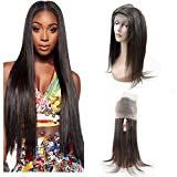DSOAR Pre Plucked 360 Lace Frontal 18'' Brazilian Virgin Hair Straight Natural Hairline with Baby Hair Natural Black