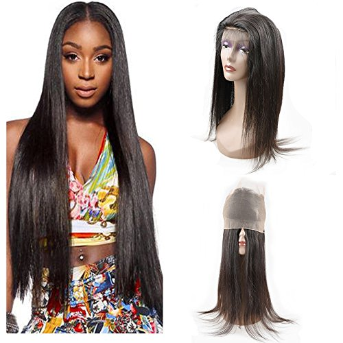 DSOAR Pre Plucked 360 Lace Frontal 18'' Brazilian Virgin Hair Straight Natural Hairline with Baby Hair Natural Black by DSOAR