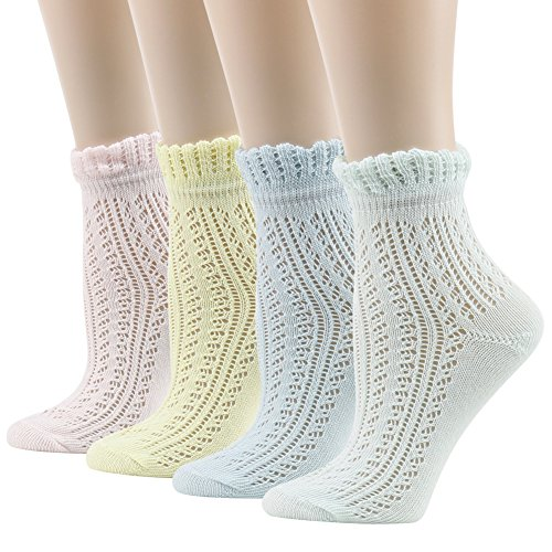(Women's Pointelle Anklet Socks,Funcat Funky Art Patterned Sexy Colorful Crochet Cable Knit Ankle Casual Socks 4 Pairs )