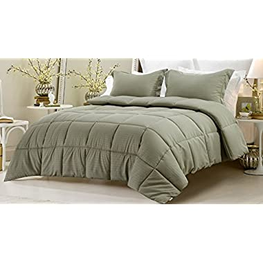 3pc Reversible Solid/ Emboss Striped Comforter Set- Oversized and Overfilled - 2 bedding looks in 1 - Full-Sage