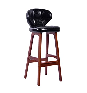 Solid Wood Bar Chairs Kitchen Breakfast Chair High Dining Chair Retro PU Leather Cushion Bar