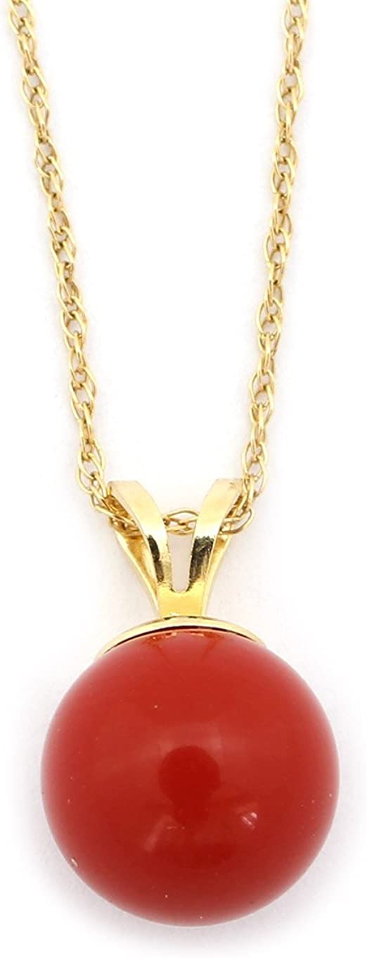 Solid Sterling Silver Rhodium Plated 8 Millimeter Simulated Dark Red Coral Pendant Necklace