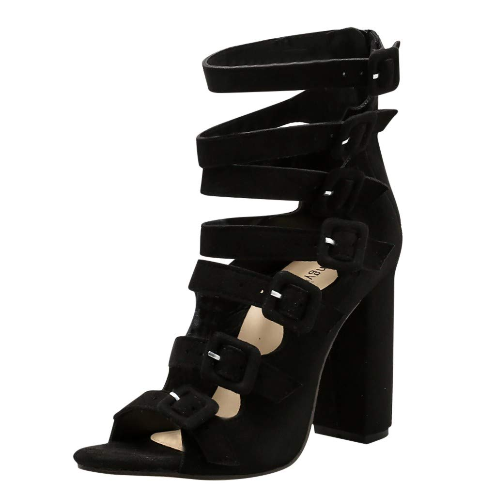 Cewtolkar Women's Sandals Thick Heel Fashion Shoes Ankle Buckle High Heels Open Toe Sandals Summer Fish Mouth Shoes Black