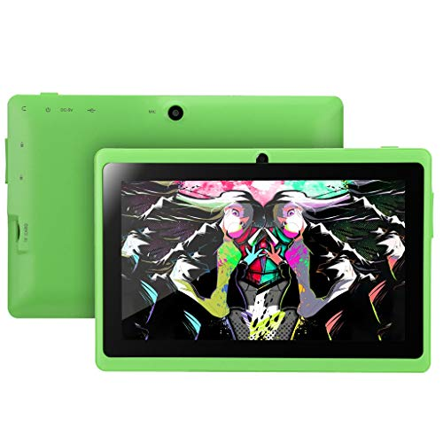 CapsA New 7Inch Android 4.4 Duad Core Tablet PC512M + 4GB Dual Camera WifiBluetooth Fashion (Green) (60 Reveal Tablets)