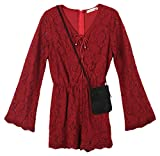 Speechless Big Girls' Bell Sleeve Lace Romper with Purse, Burgundy, XL