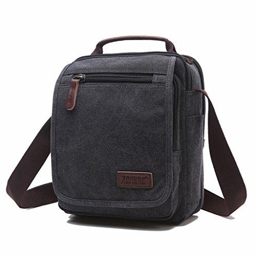 Super moderno lienzo bolsa de mensajero hombro bolsa Crossbody Bolsa Satchel Bag Bookbag Escuela Bolsa De Trabajo Bolsa para Hombres y Mujeres, hombre, 8858 Blue 8858 Black
