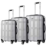 "Lightweight Luggage Set,TSA Expandable Hardside Double Wheels Spinner Luggage Sets, 20"" 24""28 inches Luggage Suitcase(SILVER, 3-piece)"