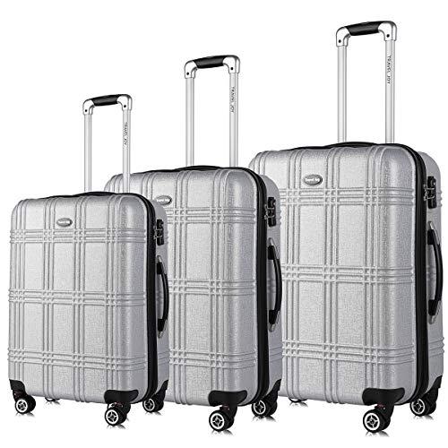 (Travel Joy Expandable Spinner Luggage Set,TSA lightweight Hardside Luggage Sets,Carry On Luggage (SILVER, 3 pcs set(20