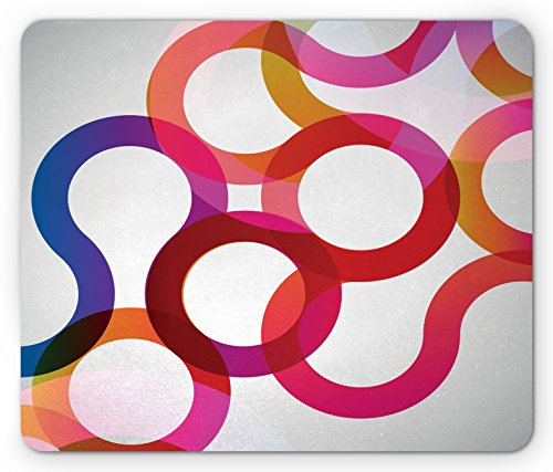 Vivid Curves (Abstract Mouse Pad by Lunarable, Composition with Curves Vivid Colorful Twisted Forms Overlaps Modern Art Elements, Standard Size Rectangle Non-Slip Rubber Mousepad, Multicolor)