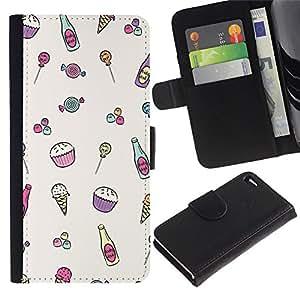 For Apple iPhone 4 / iPhone 4S,S-type® Ice-Cream Minimalist Cupcake Happy Pattern - Dibujo PU billetera de cuero Funda Case Caso de la piel de la bolsa protectora