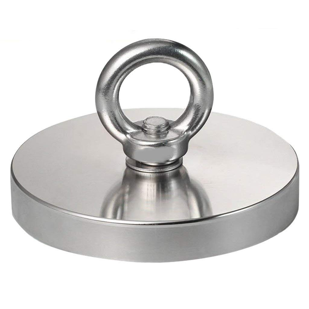 HOVEXUN 1543LBS(700KG) Pulling Force Super Powerful N52 Round Neodymium Magnet with Countersunk Hole and Eyebolt for Salvage or Magnetic Fishing,Diameter 5.35''(136mm) X Thick 0.70''(18mm)