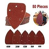 Mouse Detail Sander Sanding Sandpaper, 50 Pieces QMAY Sander Sandpaper Sanding Paper Hook Assorted 60/80/120/240/400 Grits for Random Orbital Sander