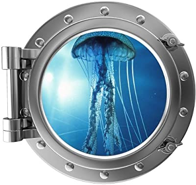 """12"""" PortScape Instant Sea Porthole Window JellyFish #3 SILVER Wall Sticker Graphic Decal Kids Game Room Art Decor"""