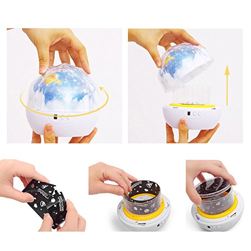 Accreate Projection Lamp USB Chargeable Colourful Whirling Projection Lamp Decoration (with Birthday & Starry Sky & Universe Projection Film) by Accreate (Image #6)
