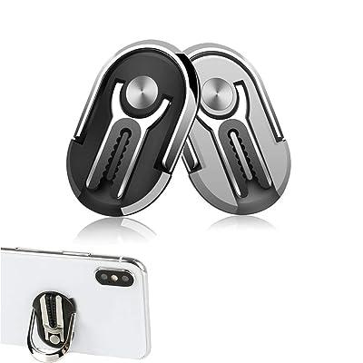OneCut 2 Pcs Phone Ring Holder Two-in-one Multipurpose Mobile Phone Bracket Holder Stand 360 Degree Rotation & 90°Flip for Car, Multiple-Angle Car Phone Mount (Black & Silver) [5Bkhe1408700]