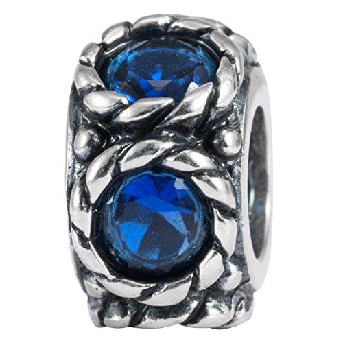 Sapphire Slide Spacer - Flower Design Sterling Silver September Birthstone Charm Bead Sapphire Swarovski Crystal fits All Charm Bracelet Women Girls Mother's Gifts EC585