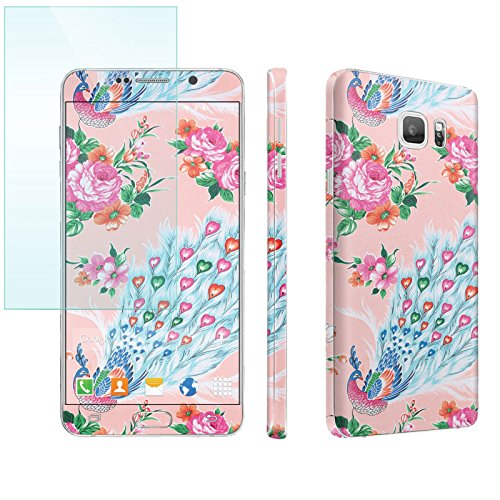 Samsung Galaxy [Note 5] Phone Skin - [SkinGuardz] Full Body Scratch Proof Vinyl Decal Sticker with [WallPaper] [Screen Protector] - [Pink Peacock] for Samsung Galaxy [Note 5]