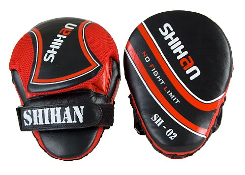 SHIHAN-CHAMP Exclusive LEATHER Punch Mitts, Focus Pads Pads SHIHAN RED 1 Pair by Shihan
