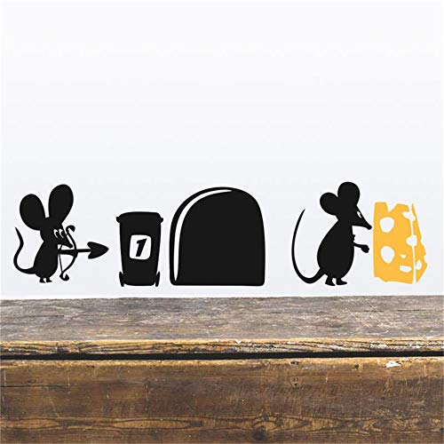 Oisiu Mickey Mouse Wall Sticker Decal Funny Mouse Cheese Cartoon Wall Stickers Room Decoration DIY Vinyl Home Decals Animals Mural -