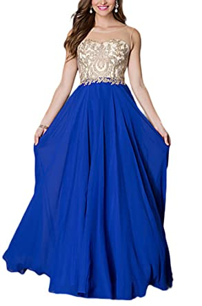 Bridal_Mall Womens Gold Appliques Sheer Scoop Neck Long Prom Dresses