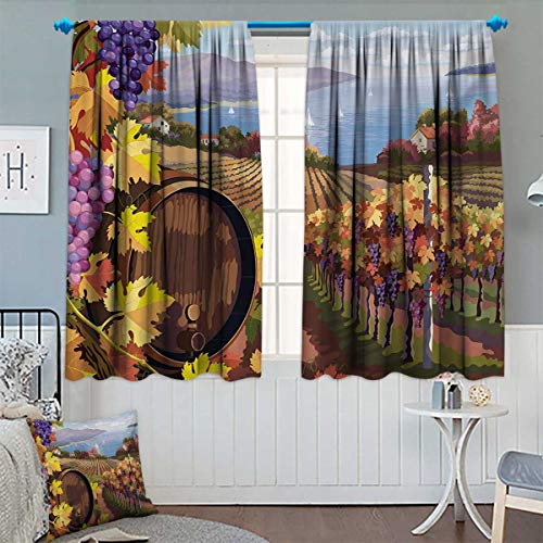 Chaneyhouse Winery Room Darkening Curtains Countryside Landscape Vineyard Agriculture Winemaking Season Grapes in Farm Print Customized Curtains 55