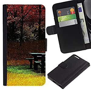 EuroTech - Apple Iphone 6 PLUS 5.5 - Park Autumn Yellow Nature Trees Fall - Cuero PU Delgado caso Billetera cubierta Shell Armor Funda Case Cover Wallet Credit Card
