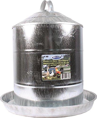 Farm Tuff Double Wall Cone-Top Galvanized Poultry Fountains, 5-Gallon