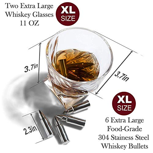 2 Large Twisted Whiskey Glasses Velvet Pouch & Tongs In Novelty ...