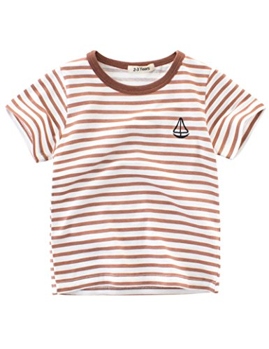 BesserBay Little Boys Summer Cotton Tee Short Sleeve T Shirts Striped Casual Tshirts 3-4 by BesserBay