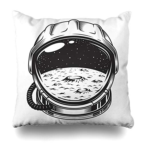 (Ahawoso Throw Pillow Cover Square 20x20 Monochrome Black Vintage Space Helmet Moon Galaxy Retro Astronaut White Crater Enamel Pin Design Home Decor Cushion Case Pillowcase)