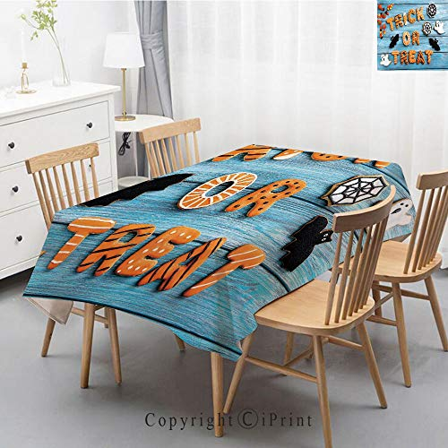 Natural Cotton Linen Rectangle Tablecloth Garden Botanic Print Pattern Country Rustic Village Burlap Table Cover Cloth Art,55x87 Inch,Halloween,Fresh Trick or Treat Gingerbread Cookies on Blue Wooden]()