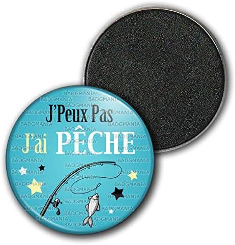 Badgmania Magnet Aimant Frigo 5.9 cm JPeux Pas JAi Hamac Vacances Palmiers Humour Excuse Alibi Id/ée Cadeau