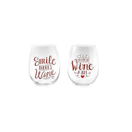 b51c383601b Amazon.com | Valentine's 2-pc. Stemless Wine Glass Set: Wine Glasses