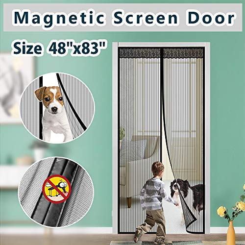 Magnetic Screen Door IKSTAR Double Instant Mesh Curtain with Full Frame Magic Tape Mesh Door Cover for Front Door and Home Outside Kids/Pets Walk Through Easily Fit Door Size Up to 46
