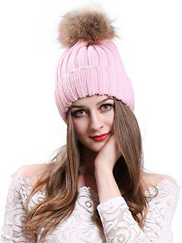 CR Womens Winter Fur Hats Real Raccoon Fur Pom Pom Girls Knit Beanie ()