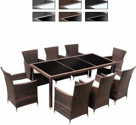 Miadomodo – Conjunto de Mesa y 8 sillas de jardín de poliratán ...